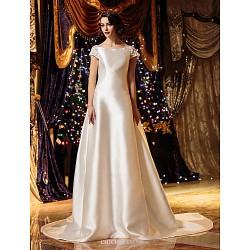 A-line/Princess Wedding Dress - Ivory Court Train Bateau Satin