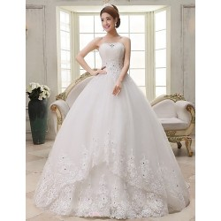 Ball Gown Floor Length Wedding Dress Strapless Lace