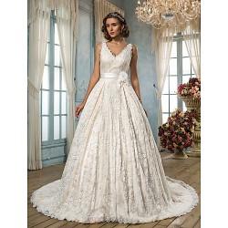 A Line Plus Sizes Wedding Dress Ivory Court Train V Neck Lace