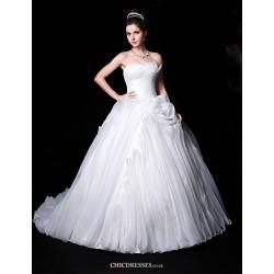Ball Gown Wedding Dress - White Chapel Train Sweetheart Organza/Charmeuse