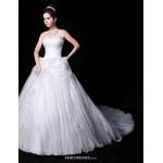 Ball Gown Wedding Dress - White Chapel Train Sweetheart Organza/Charmeuse Wedding Dresses