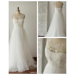 A Line Wedding Dress Ivory Sweep Brush Train Jewel Lace Tulle