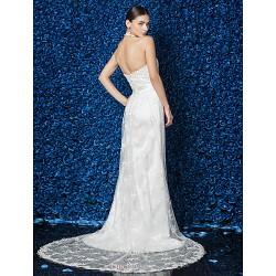 Sheath/Column Wedding Dress - Ivory Court Train Halter Lace