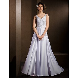 A Line Wedding Dress White Floor Length V Neck Satin Chiffon
