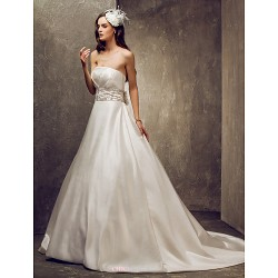 A Line Plus Sizes Wedding Dress Ivory Court Train Strapless Satin