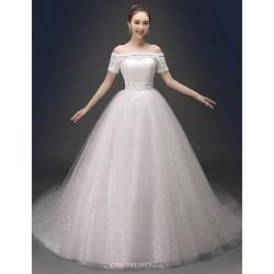 Ball Gown Chapel Train Wedding Dress V Neck Satin