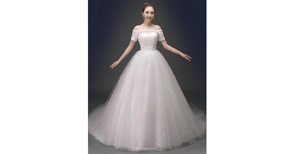 Satin Ball Gown Wedding Dress: Ball Gown Chapel Train Wedding Dress -V-neck Satin,Cheap