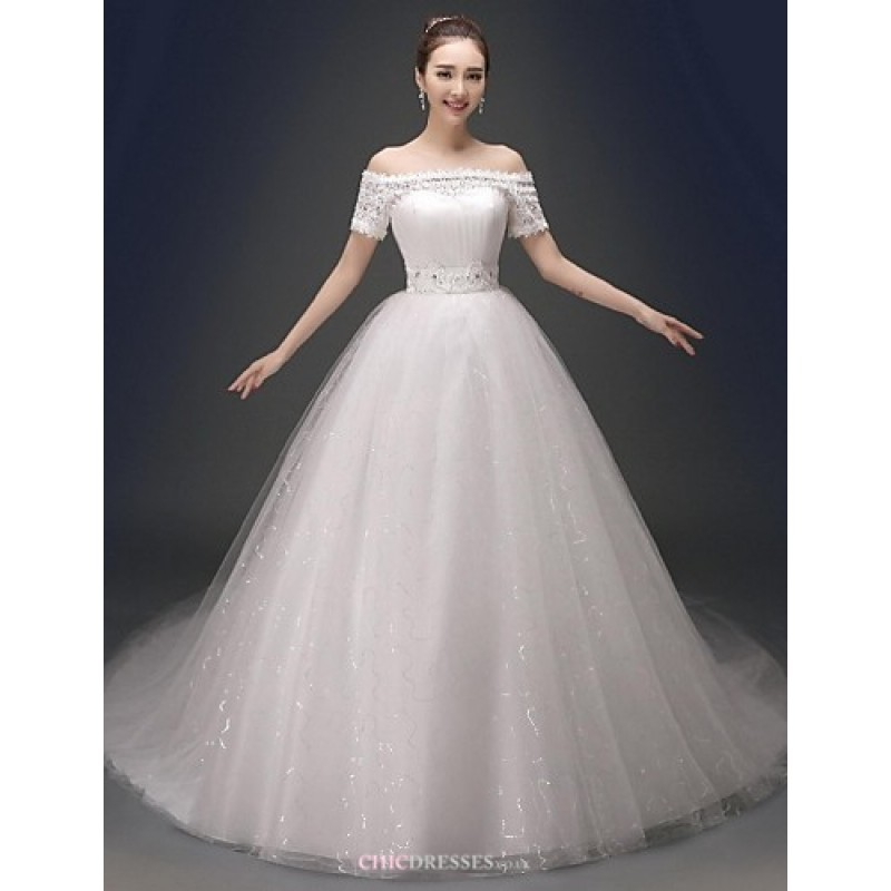 Ball Gown Wedding Dresses Uk: Ball Gown Chapel Train Wedding Dress -V-neck Satin,Cheap