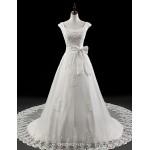 A-line Wedding Dress - White Court Train Square Organza Wedding Dresses