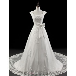 A Line Wedding Dress White Court Train Square Organza