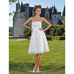 A Line Princess Wedding Dress Ivory Knee Length Strapless Lace