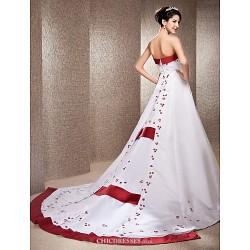 A Line Princess Plus Sizes Wedding Dress Ivory Chapel Train Strapless Satin