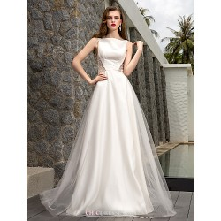 A-line Plus Sizes Wedding Dress - Ivory Sweep/Brush Train Bateau Tulle