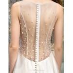 A-line Plus Sizes Wedding Dress - Ivory Sweep/Brush Train Bateau Tulle Wedding Dresses