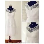 A-line Wedding Dress - White Tea-length V-neck Lace / Tulle Wedding Dresses