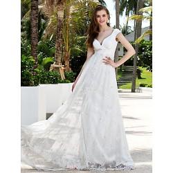 Sheath/Column Plus Sizes Wedding Dress - Ivory Sweep/Brush Train Off-the-shoulder Chiffon/Lace