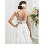A-line/Princess Plus Sizes Wedding Dress - Ivory Sweep/Brush Train Scoop Charmeuse Wedding Dresses