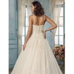 A-line Plus Sizes Wedding Dress - Champagne Sweep/Brush Train Halter Tulle Wedding Dresses
