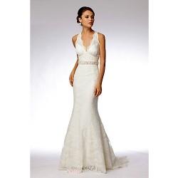 Trumpet Mermaid Sweep Brush Train Wedding Dress Halter Lace