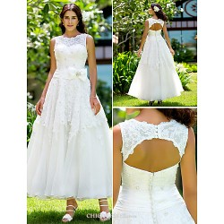 A Line Princess Plus Sizes Wedding Dress Ivory Ankle Length Jewel Lace
