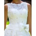 A-line/Princess Plus Sizes Wedding Dress - Ivory Ankle-length Jewel Lace Wedding Dresses
