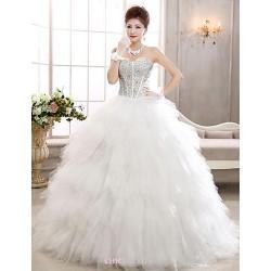 A Line Floor Length Wedding Dress Sweetheart Tulle