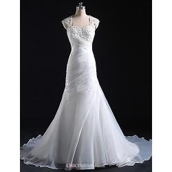Trumpet/Mermaid Wedding Dress Court Train Straps Tulle