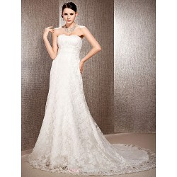 A Line Princess Plus Sizes Wedding Dress Ivory Court Train Sweetheart Lace