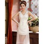 Sheath/Column Floor-length Wedding Dress -V-neck Satin Wedding Dresses