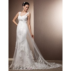 Sheath Column Plus Sizes Wedding Dress Ivory Court Train Straps Tulle