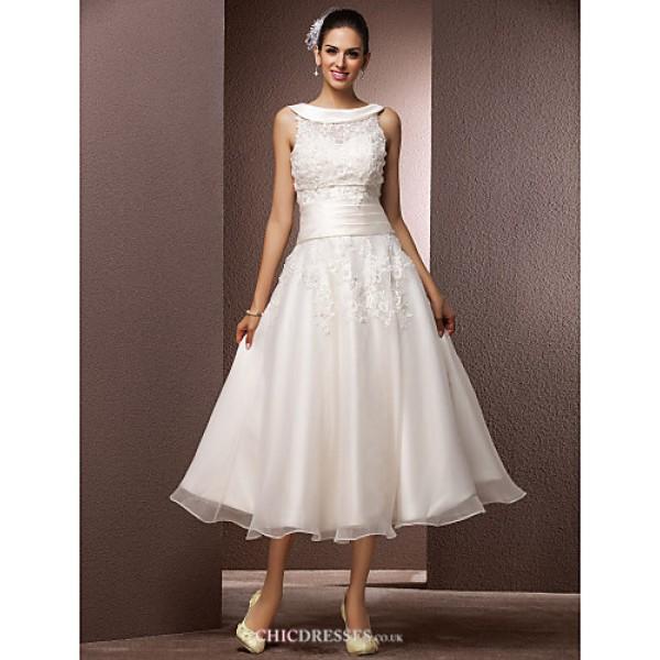 A-line/Princess Plus Sizes Wedding Dress - Ivory Tea-length Bateau Organza Wedding Dresses