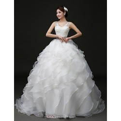 Ball Gown Sweep Brush Train Wedding Dress V Neck Organza