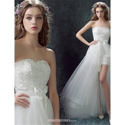 Sheath Column Asymmetrical Wedding Dress Sweetheart Lace