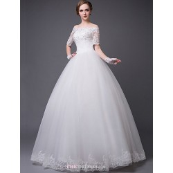 Princess Floor-length Wedding Dress -Strapless Lace