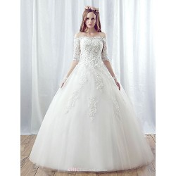 A-line Wedding Dress - White Floor-length Off-the-shoulder Organza