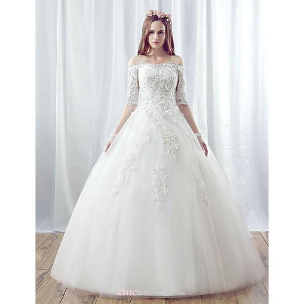 A-line Wedding Dress - White Floor-length Off-the-shoulder Organza Wedding Dresses