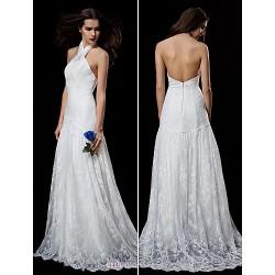 A-line Wedding Dress - White Sweep/Brush Train Halter Lace