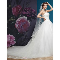 A Line Wedding Dress White Cathedral Train Strapless Organza