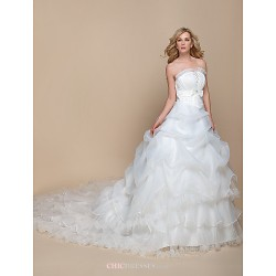 A-line/Princess Wedding Dress - Ivory Cathedral Train Strapless Organza