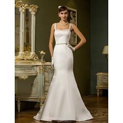 Trumpet Mermaid Plus Sizes Wedding Dress Ivory Sweep Brush Train Straps Satin