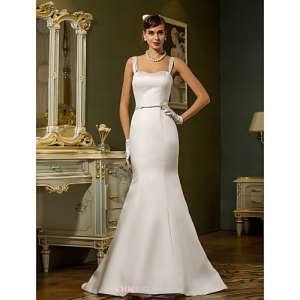 Trumpet/Mermaid Plus Sizes Wedding Dress - Ivory Sweep/Brush Train Straps Satin Wedding Dresses