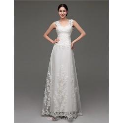 A Line Wedding Dress White Sweep Brush Train V Neck Tulle