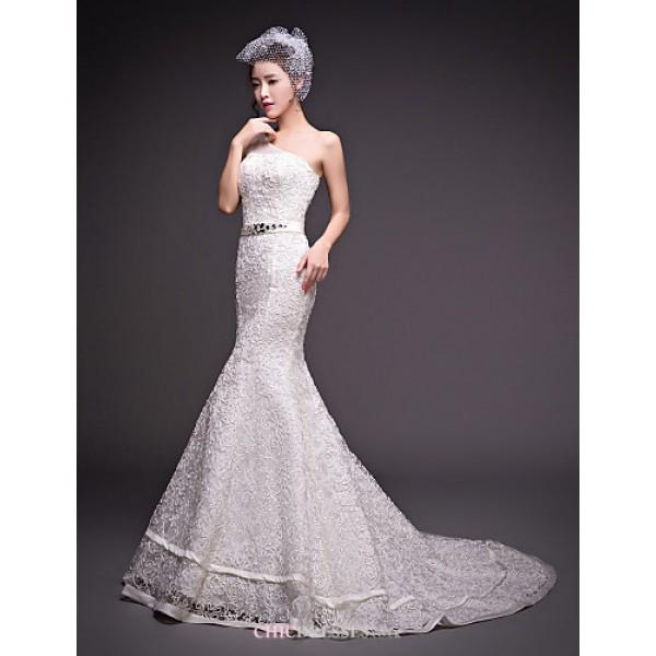 Dress - Ivory Trumpet/Mermaid One Shoulder Court Train Tulle Wedding Dresses