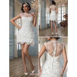 Sheath Column Wedding Dress Ivory Court Train Jewel Satin Lace