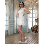 Sheath/Column Wedding Dress - Ivory Court Train Jewel Satin/Lace Wedding Dresses