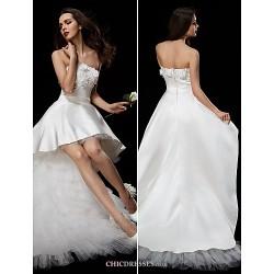 Ball Gown Wedding Dress - Ivory Asymmetrical Strapless Satin/Tulle