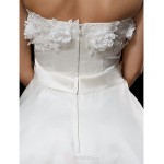Ball Gown Wedding Dress - Ivory Asymmetrical Strapless Satin/Tulle Wedding Dresses