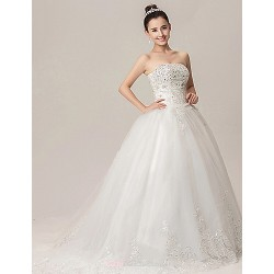 Ball Gown Wedding Dress White Chapel Train Strapless Lace Organza