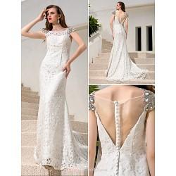Sheath/Column Plus Sizes Wedding Dress - Ivory Court Train Bateau Charmeuse/Sequined/Stretch Satin