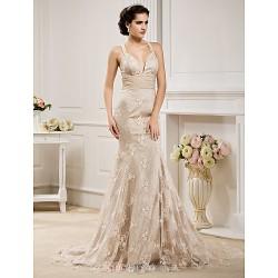 Trumpet Mermaid Plus Sizes Wedding Dress Champagne Court Train Straps Lace Chiffon